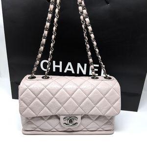 CHANEL Pink Bag Flap Glaze Calfskin Leather Rare🦄